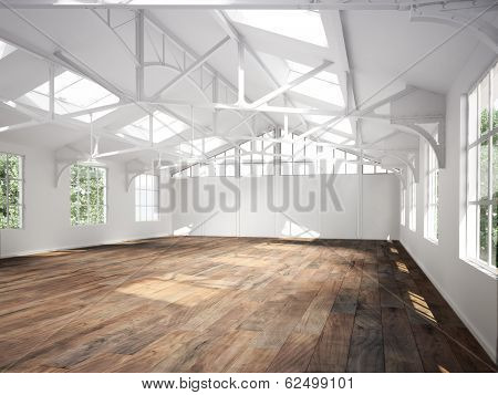 Commercial interior with hard wood floors and skylights.Photo realistic 3d scene