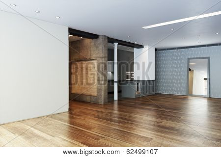 Empty Highrise apartment with column accent interior and hardwood floors. Photo realistic 3d scene