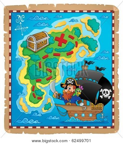 Pirate map theme image 1 - eps10 vector illustration.