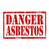 stock photo of asbestos  - Grunge rubber stamp with text Danger Asbestos - JPG
