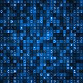 stock photo of encoding  - Blue cryptography encoding screen computer binary code pixels  background - JPG