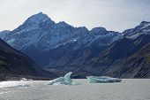 stock photo of hookers  - Hooker Glacier Lake in Aoraki National Park New Zealand - JPG