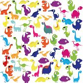 pic of pterodactyl  - Vector Cartoon Cute And Colorful Group Of Dinosaurs - JPG