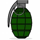 stock photo of grenades  - Cartoon illustration showing a green hand grenade - JPG