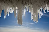 Large icicles in the Apostle Islands Ice Caves on frozen Lake Superior, Wisconsin