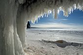 picture of cave  - Apostle Islands Ice Caves on frozen Lake Superior - JPG