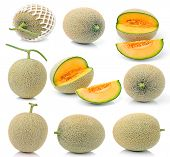 stock photo of muskmelon  - cantaloupe melon isolated on over white background - JPG