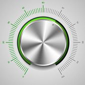 picture of musical scale  - detailed illustration of a metallic volume knob - JPG