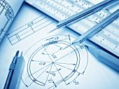 picture of mechanical drawing  - industrial drawing detail and several drawing tools - JPG