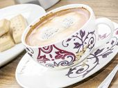 picture of shortbread  - Decorative coffee cup and shortbread biscuits and coffee maker - JPG