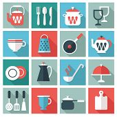 stock photo of stew pot  - kitchen utensil icons - JPG
