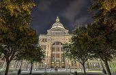 stock photo of granite dome  - The Texas State Capitol Building in downtown Austin at Night - JPG