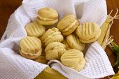 stock photo of shortbread  - Delicious fresh baked melting moments shortbread biscuits ready to serve - JPG