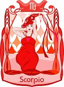 picture of scorpio  - Red haired and dressed woman represents the scorpio horoscope sign - JPG