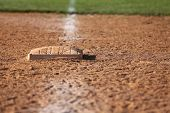 stock photo of infield  - View of First Base in the Infield - JPG