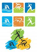 stock photo of triathlon  - Icons symbolizing triathlon - JPG