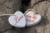 Love On The Rocks Wooden Hearts