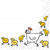 picture of mums  - Little yellow chickens with mum white hen spring holiday Easter illustration on white dotted background with blank place for your text - JPG