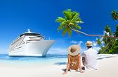 picture of couple sitting beach  - Romantic Couple Sitting by a Cruise Ship - JPG