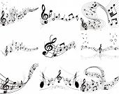 stock photo of music note  - Vector musical notes staff backgrounds set for design use - JPG