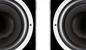 stock photo of membrane  - Pair of black audio speakers membrane closeup isolated on white background - JPG