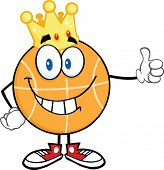 Smiling Basketball With Golden Crown Giving A Thumb Up