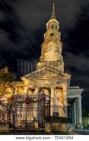 St. Phillips Episcopal Church At Night