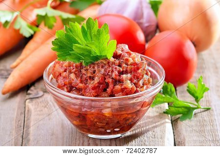 Tomato Sauce In Glass Bowl
