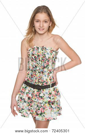 Fashion Preteen Girl Against The White