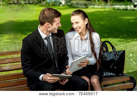 Young Business couple outdoors.