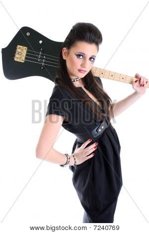 Young Beautiful Model In Black With Guitar