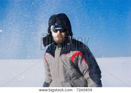 Man In Snowy Field