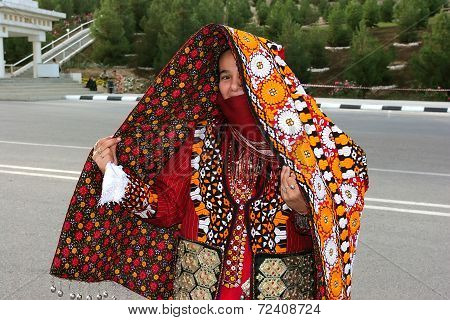 Ashgabat, Turkmenistan - March 10.  Portrait Of  Young  Unidentified  Asian Woman. Woman In Traditio