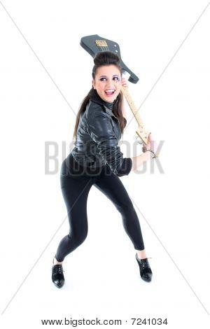 Bela rapariga com guitarra