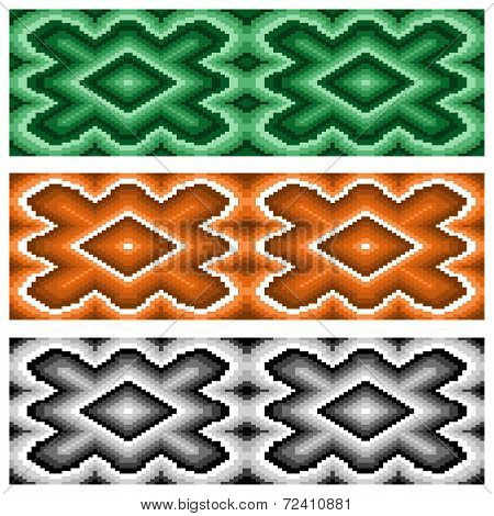 Set Of Three Seamless Rhombic Patterns