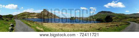Panorama Of Llynnau Gregennen, In Snowdonia National Park