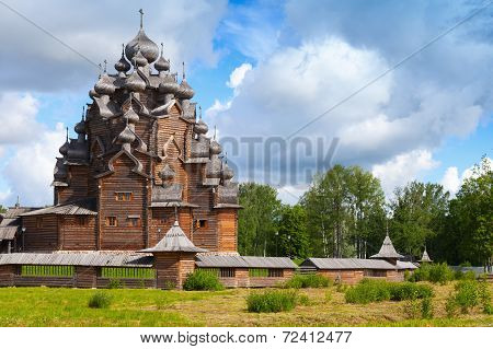 Russian Wooden Church Of The Intercession. St. Petersburg