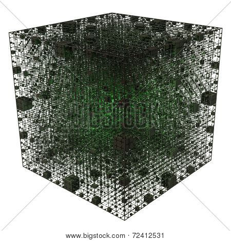 Green Center Light Grid Cube