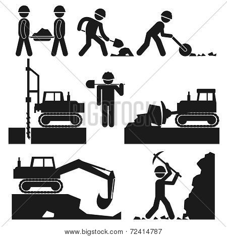 Collection of Black Construction Earthworks Icons
