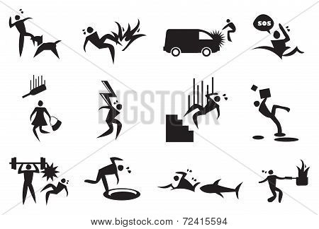 Accident, Mishap And Disaster Vector Icons