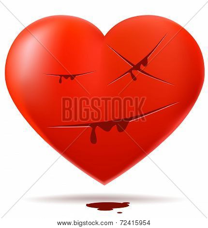 Red glossy heart with cuts