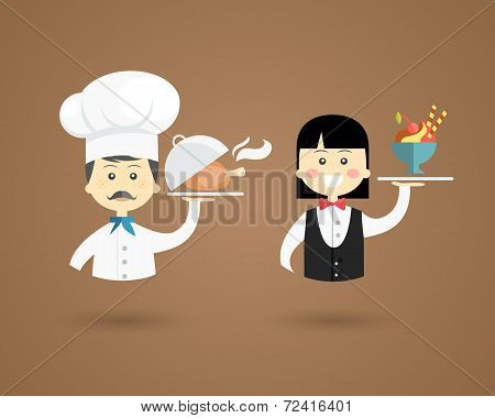 Profession character icons of a chef and waiter