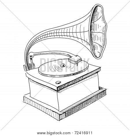 Vintage gramophone isolated on white