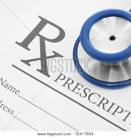 Stethoscope Over Blank Medical Prescription Form - Studio Shot