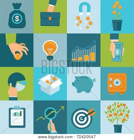 Vector Set Of Business Concepts In Flat Style