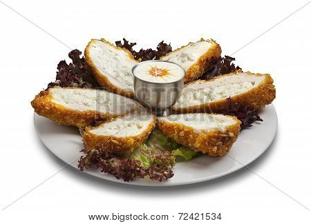 Slice Fried Chiken With Souce