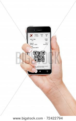 Hand Holding Mobile Phone With Mobile Boarding Pass Isolated Over White