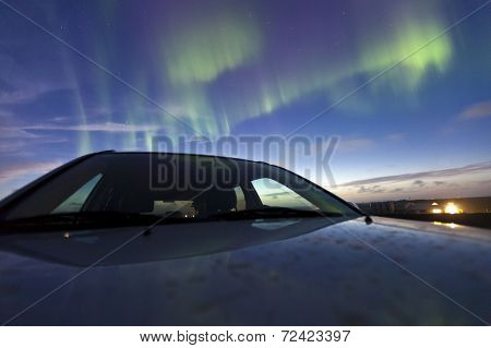 Nothern Lights Aka Aurora Borealis In Iceland
