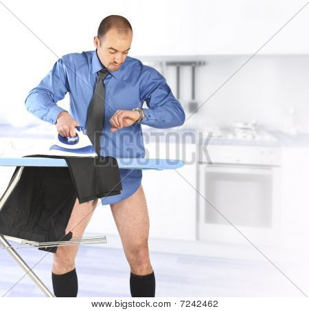 Businessman Ironing His Trouser