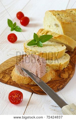 Snack: French Maize Bread, Pate And Three Tomatoes